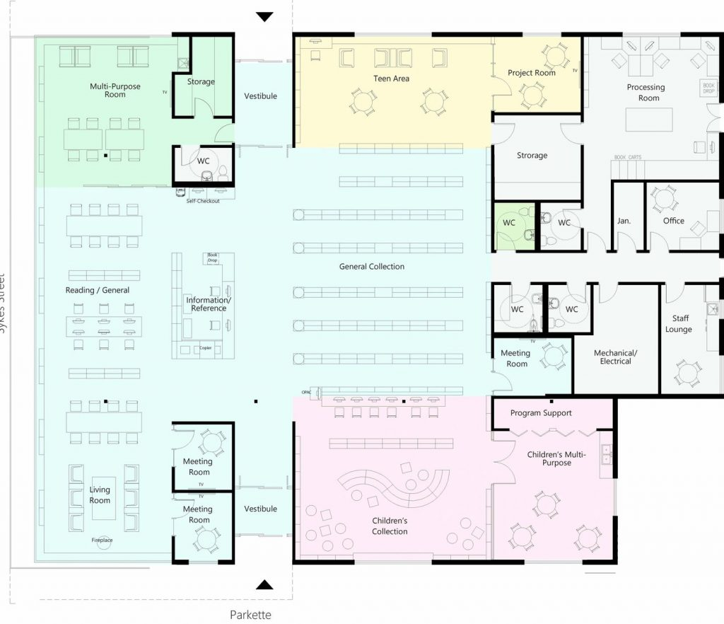Floor plan for new library